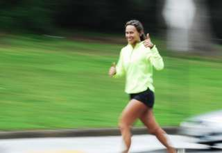 A lady running